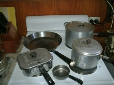 A collections of Mum's old pots and pans