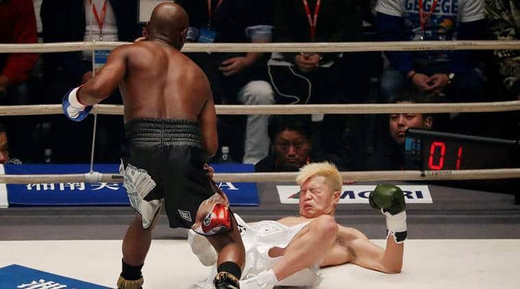 Floyd Mayweather floors Tenshin Nasukawa three times