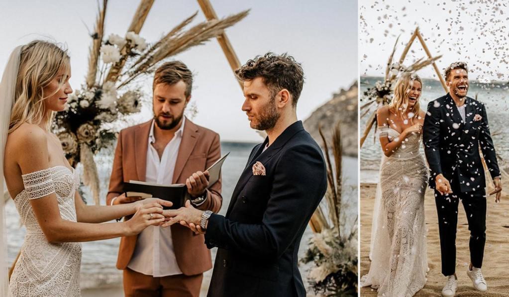 Comedian Joel Dommett marries Hannah Cooper in beach wedding