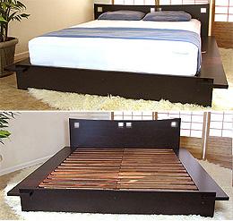 Zen Platform Bed Frame Dark Walnut