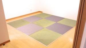 普通の畳の色とグレーの色の畳とMIXで敷くとこんな感じのお部屋になりました