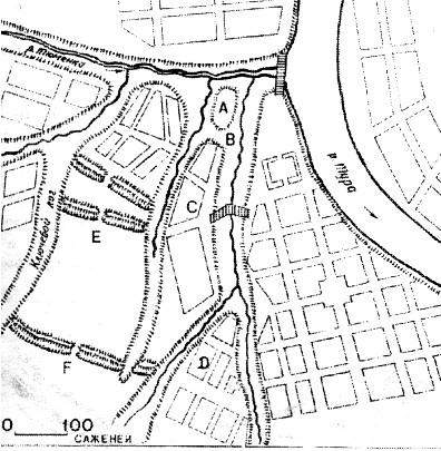 План Тюмени 1766 года, на левом плане схема Чимги-Туры. Буквой «А» обозначена ханская цитадель, под «Е.», «F» оборонительные укрепления