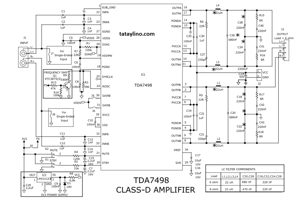medium resolution of tda7498 schematic