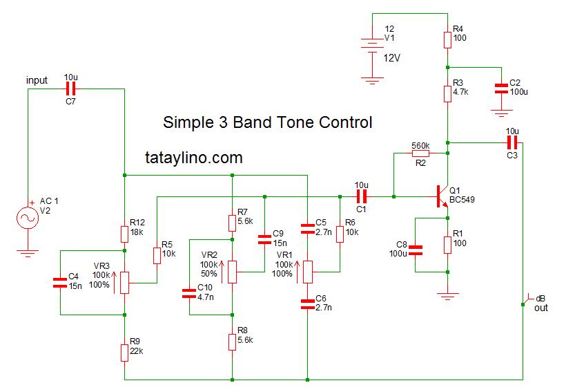 3band tone control using transistor