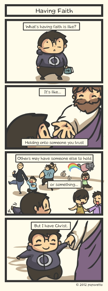 Christian comic strip showing how it is like to have a faith in Jesus Christ