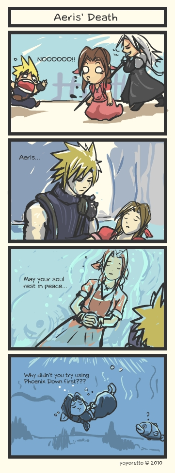 cloud from final fantasy sending aeris to her death without phoenix down comic strip