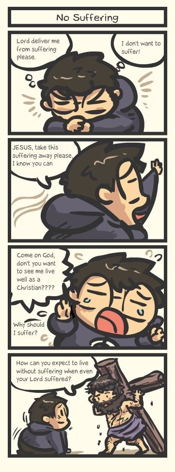 you can not expect no suffering jesus christ christian comic strip
