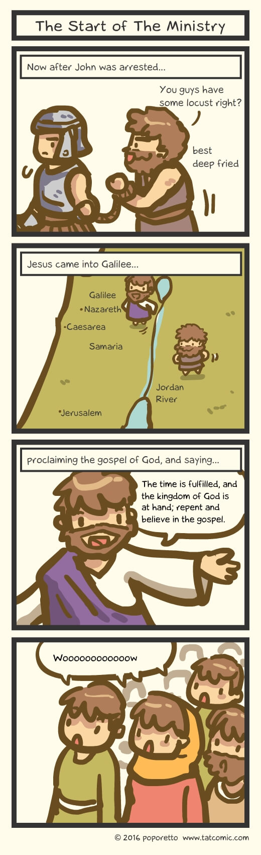 Christian Comic Strip the Gospel of Mark Book of Mark Jesus starts his ministry