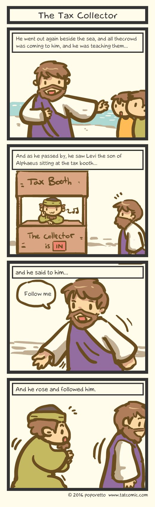 Book of mark comic gospel about how jesus and levi the tax collector