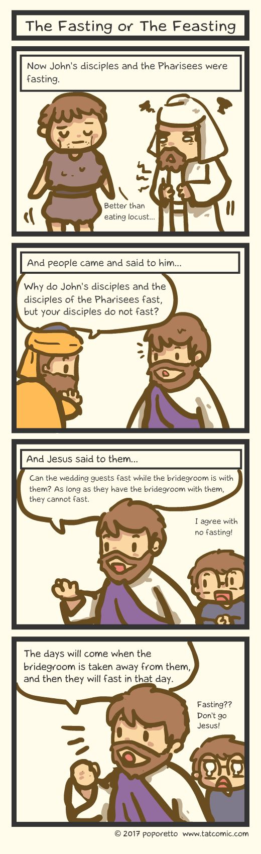 Gospel of Mark comic Jesus telling the people that his disciples doesn't feat because he is the christ