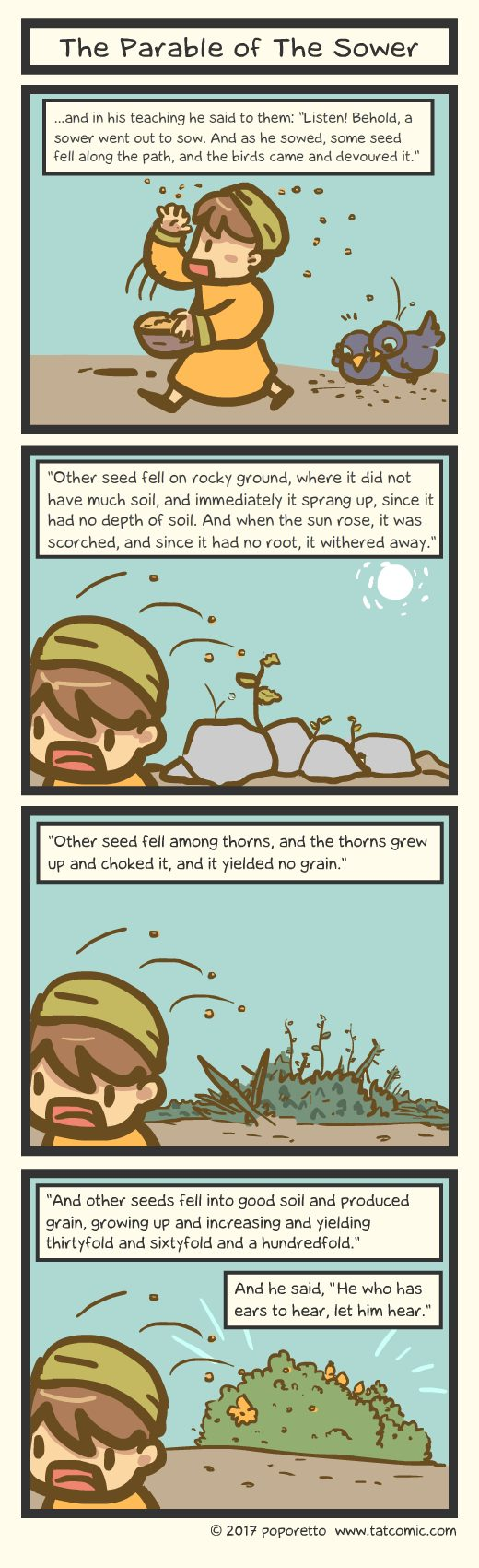 Gospel Christian comic strip jesus and the great crowd following him while jesus teaches using parables of the sower who sows the seeds to good soil, bad soil and thorny soil