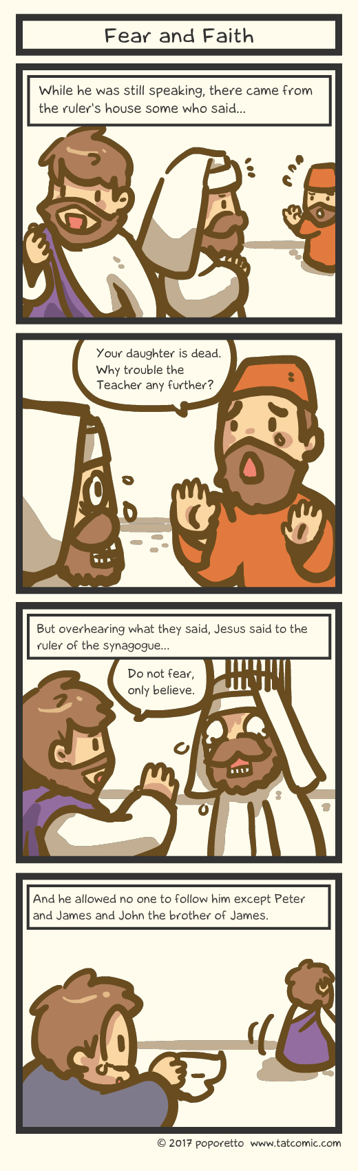 Bible comic Gospel Christian comic strip Jesus Christ and Jairus's fear of his daughter's death