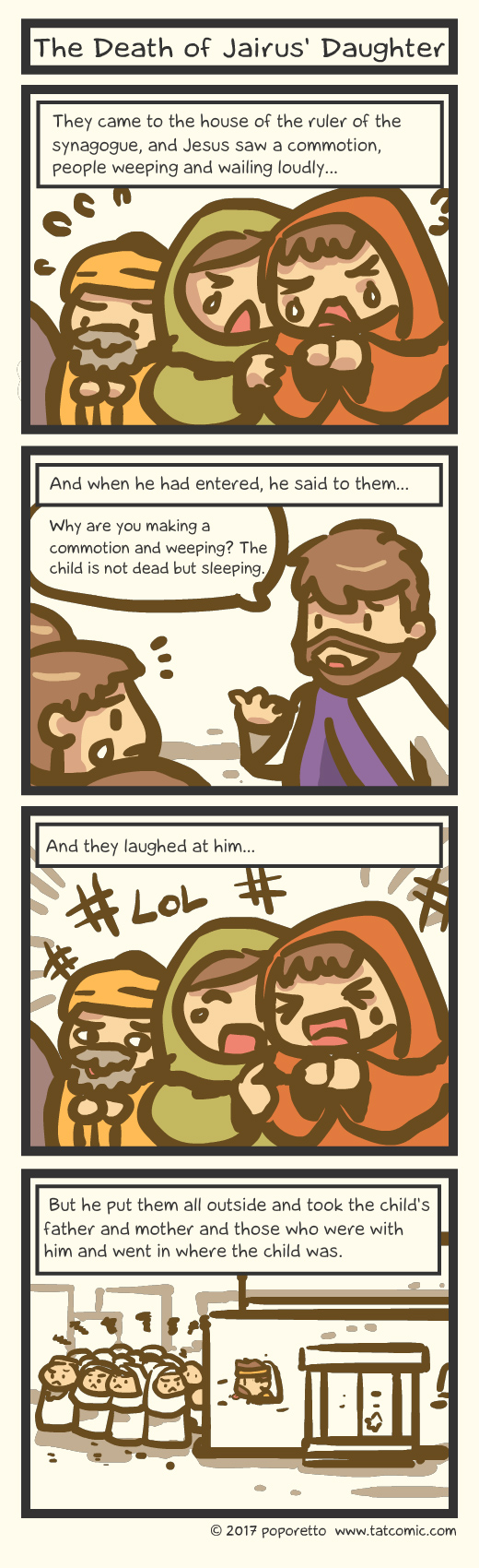 Bible comic Gospel Christian comic strip Jesus Christ and Jairus daughter's death