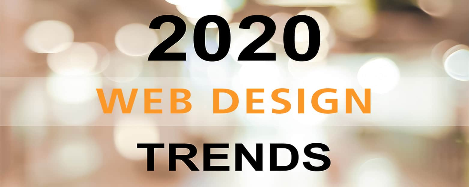 2020 web design trends over office background, banner, 2020 business and technology concept