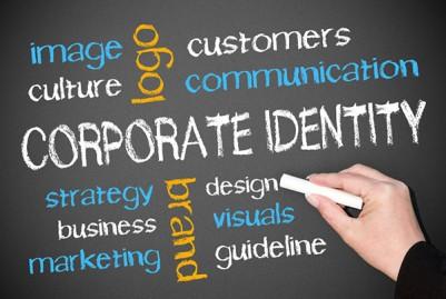 Corporate Identity, logo, brand on chalkboard