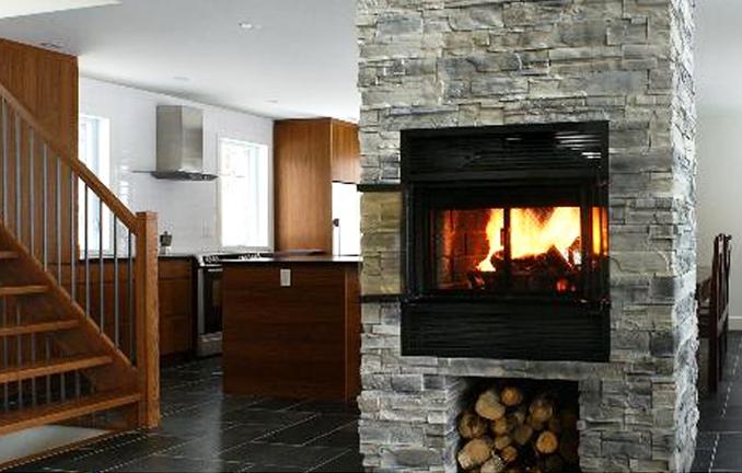 Valcourt seethrough woodburning fireplace
