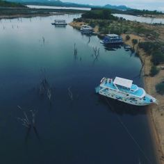 Drone view of the boats on the shores of LAKE KARIBA. Source: Instagram @hambanow