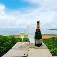Bumi Hills the exclusive and remote resort destination on LAKE KARIBA sipping Champagne all the way is our girl Julz. Source: Instagram @hambanow