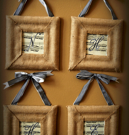 Thankful for my Children: Burlap Dollar Store Wall Grouping