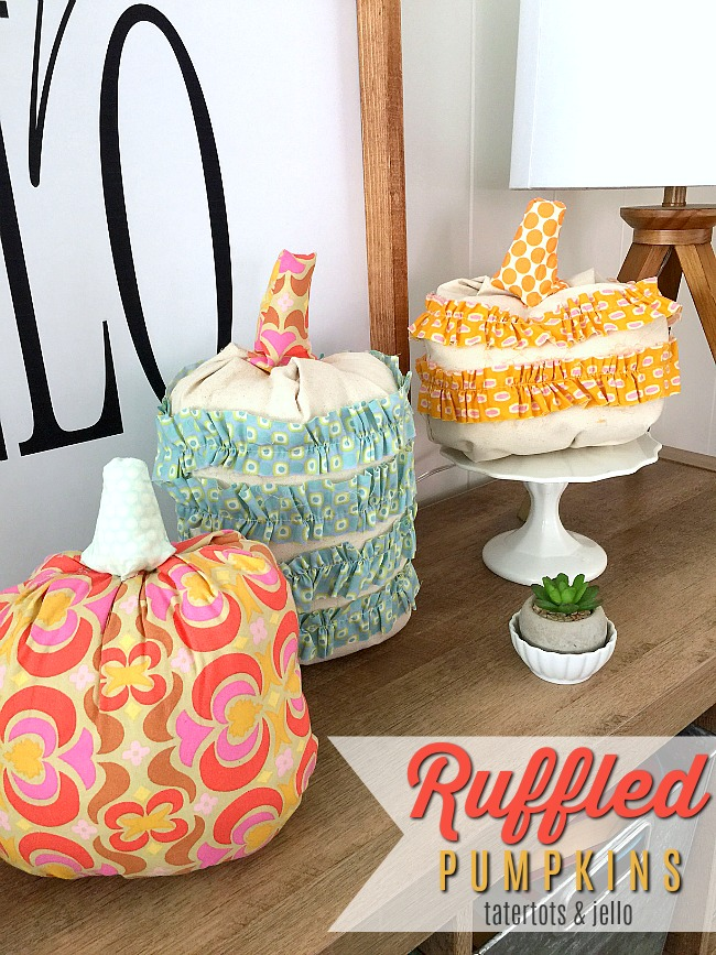 How to make fabric ruffled pumpkins for fall A step-by-step tutorial on pumpins you will love displaying for years! Make them in ANY fabric to match YOUR home!