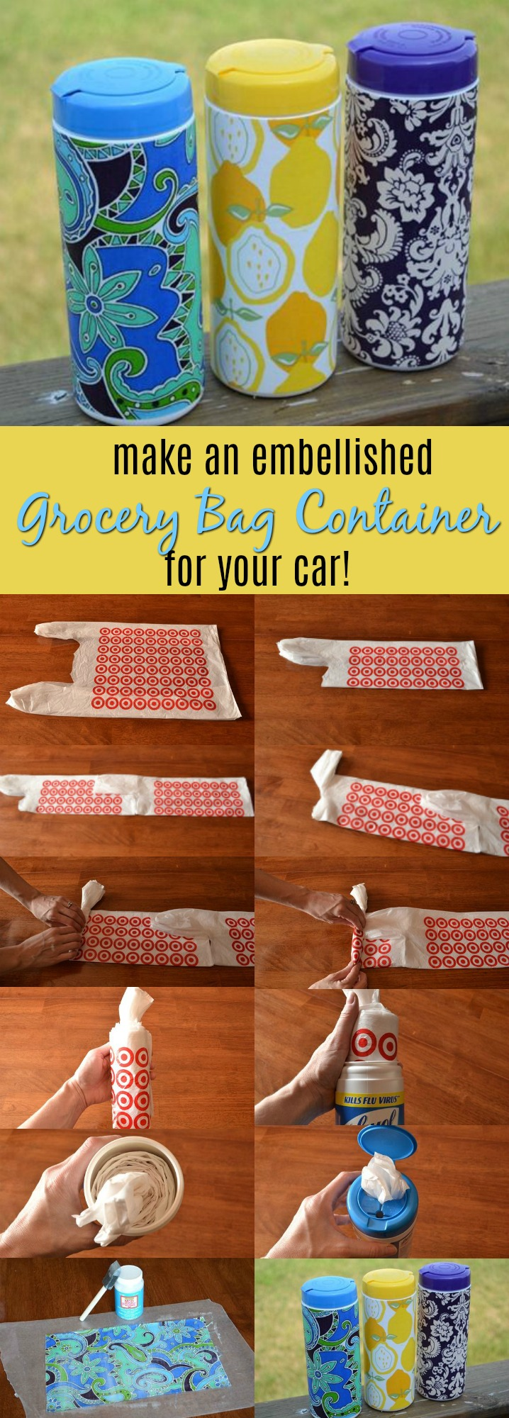 make an embellished grocery bag container for your car - very handy!
