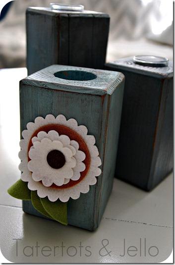 felt flower block votive candles