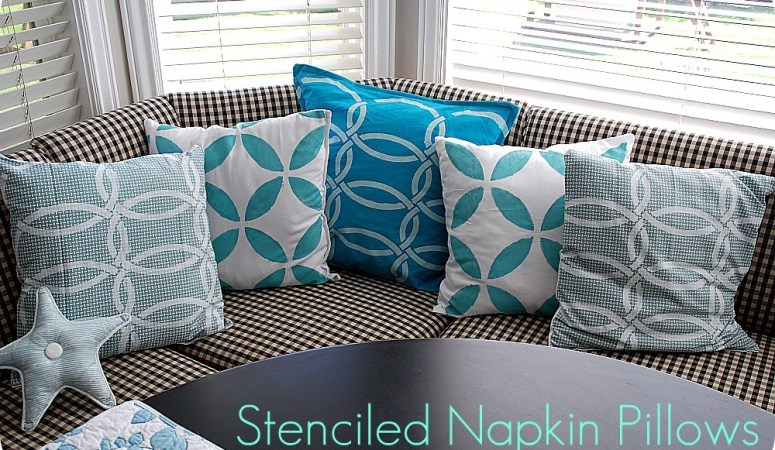 Stenciled Napkin Pillows for my banquette — with Royal Design Studios!! {tutorial}!!