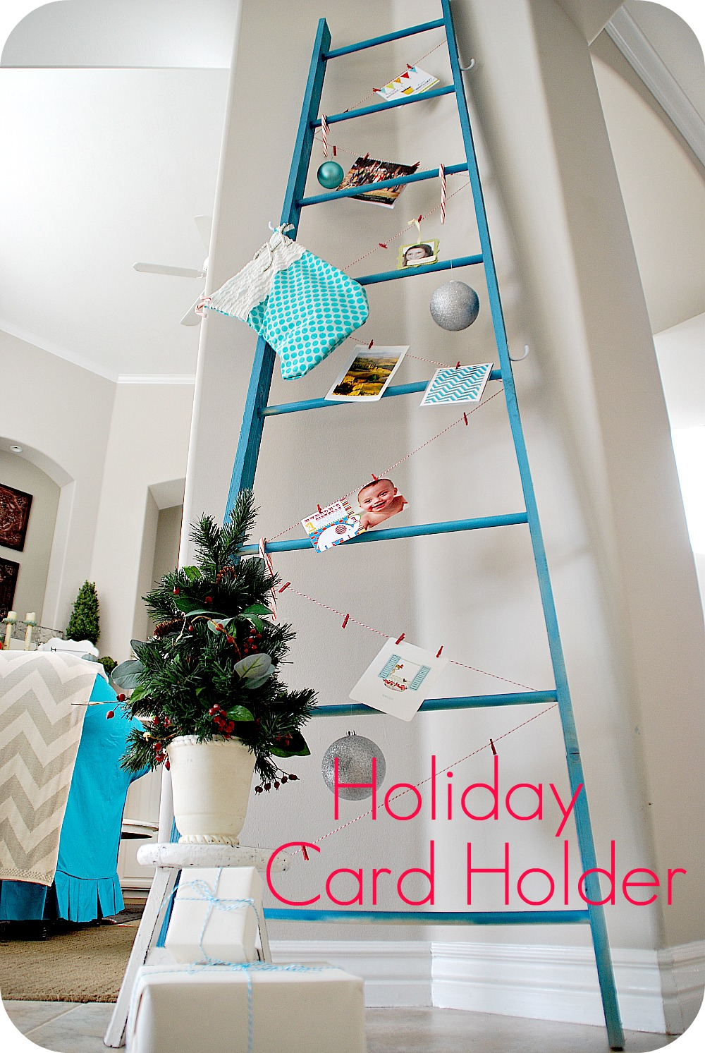 make a diy holiday ladder to display cards or advent calendars