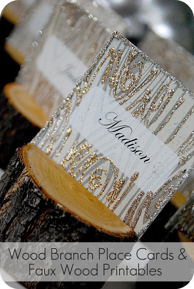 DIY Rustic Branch Holiday Place Cards And Faux Wood