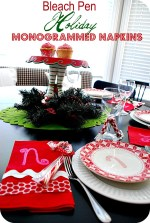 Make Monogrammed Holiday Napkins with Bleach Pens! (tutorial)