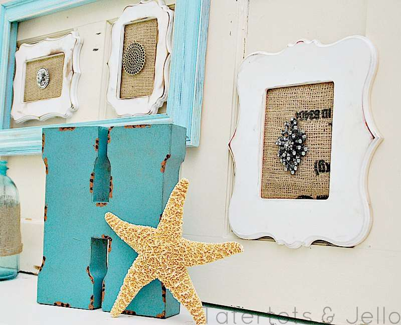 Frame Brooches with Burlap for a Vintage/Beachy Mantel