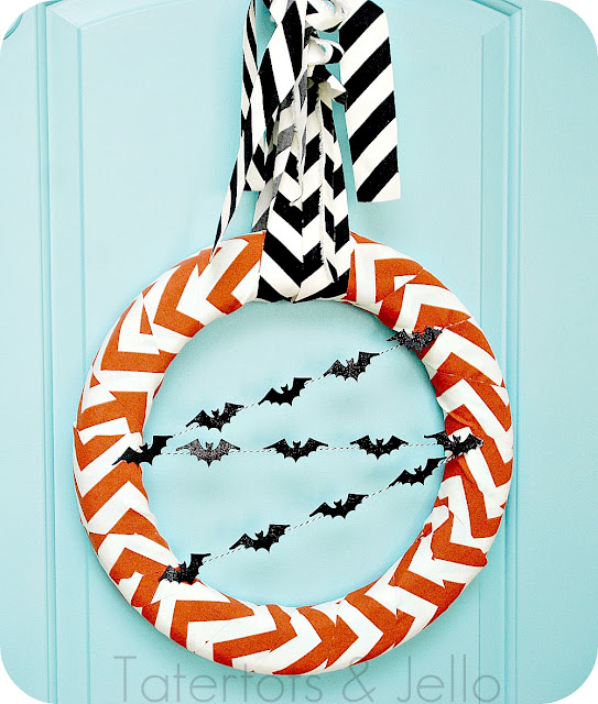 orange and black modern bat wreath halloween