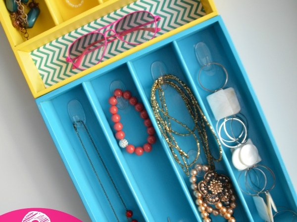 Colorful Jewelry Organizers from Silverware Trays