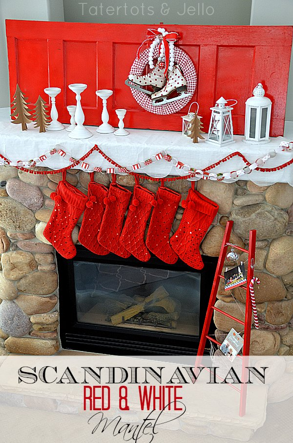 red and white scandinavian mantel