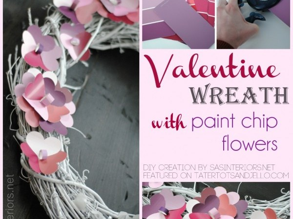 Valentine Wreath with Paint Chip Flowers!