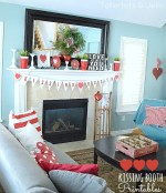 Free Kissing Booth Valentine Printable Bunting and Valentine's Day Mantel!