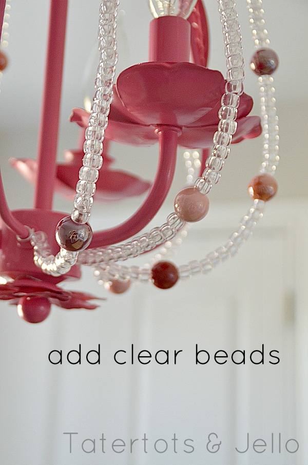 Upcycle a plain chandelier into a beaded showpiece spray paint and add beads to an existing chandelier aloadofball Image collections
