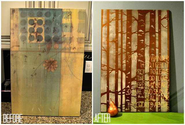 How to Upcycle an Old Piece of Art Into Something Fabulous (Stenciled Typography Tutorial)