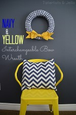 Spring Navy and Yellow Interchangeable Bow Wreath!