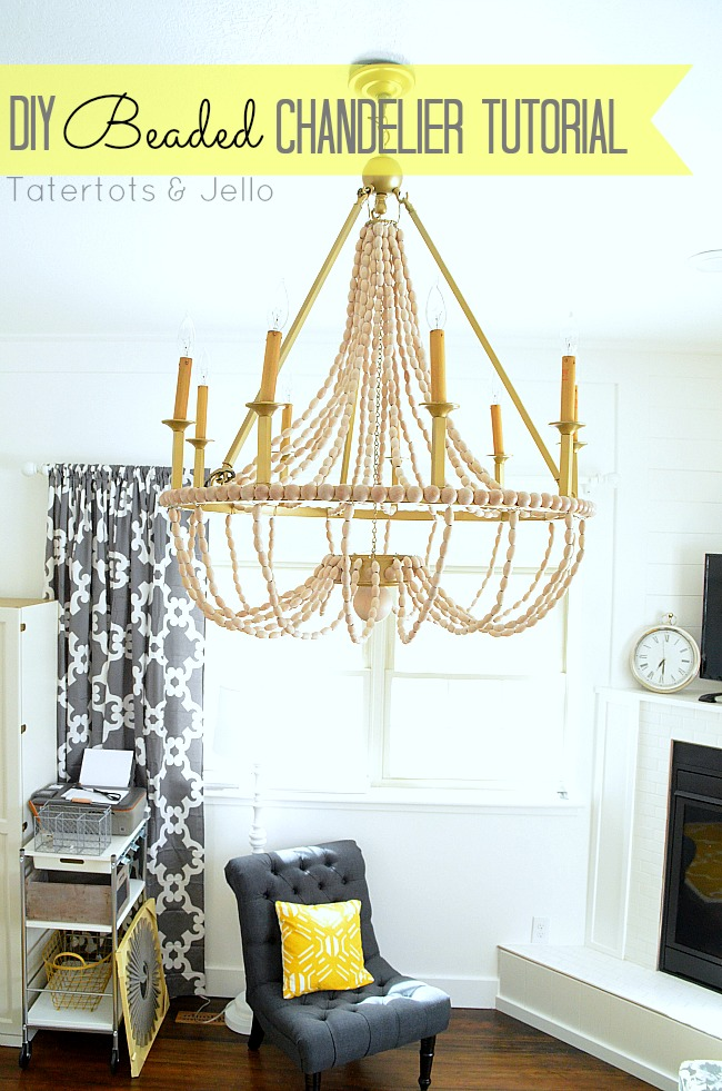 DIY Beaded Chandelier Tutorial at Tatertots and