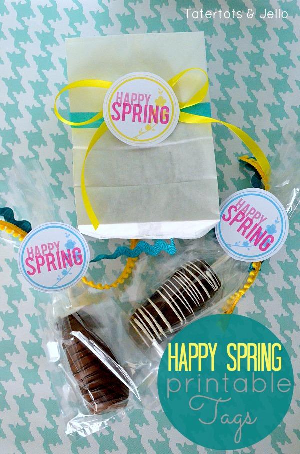 Happy Spring Free Printable Tags at tatertotsandjello.com