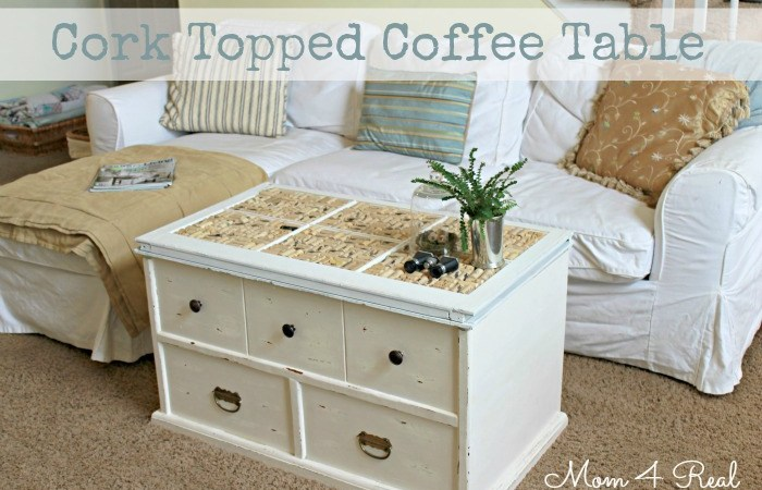 Make a DIY Cork Topped Coffee Table!