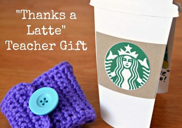 """Thanks a Latte"" Teacher Appreciation Gift Idea – Hand Crocheted Coffee Cozy!"