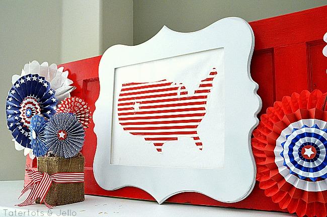 fabric USA map frame at Tatertots & Jello