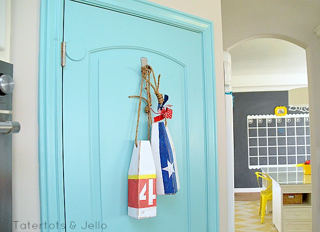 nautical patriotic buoys on the door at tatertots and jello