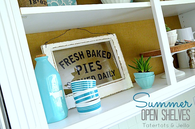 summer kitchen open shelves at Tatertots and Jello