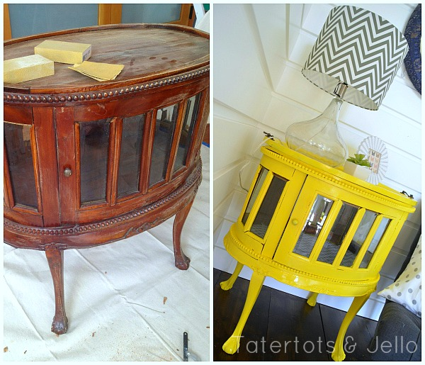 yellow cabinet before and after