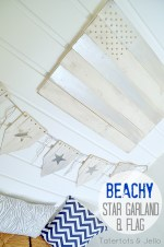 Beachy Wood Shim Star Bunting and Wood Flag (tutorial)!