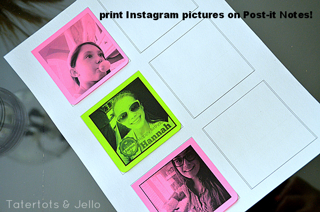 print instagram pictures on post-it notes