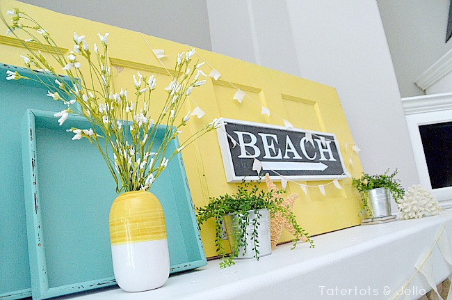 beachy mantel painted boxes at tatertots and jello